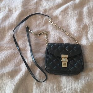 Soft Black Quilted Crossbody Bag